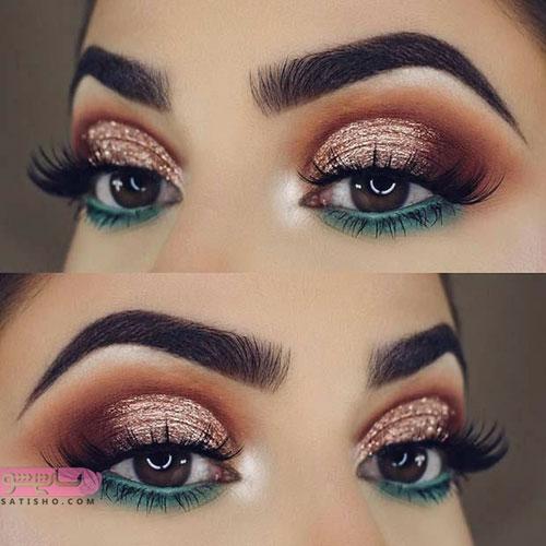 آرایش چشم مدل عربی با سایه اکلیلی قهوه ای