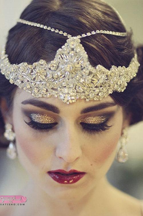 مدل ارایش چشم ملایم زیبا اکلیلی زرد با ست تاج عروس 2019