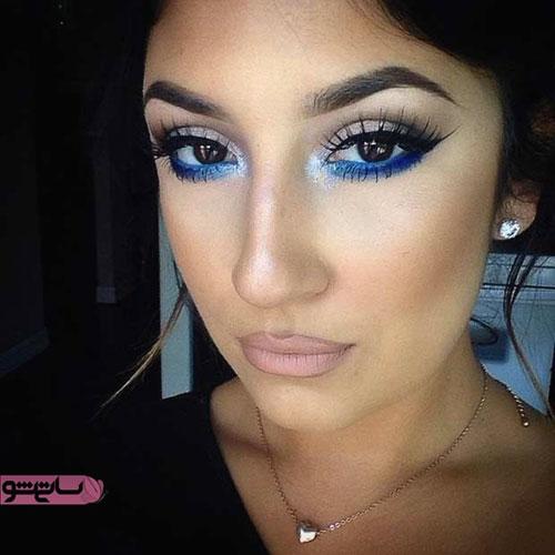 آرایش مدل چشم کشیده با سایه آبی