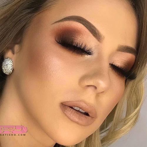 مدل آرایش چشم عروس با مژه مصنوعی