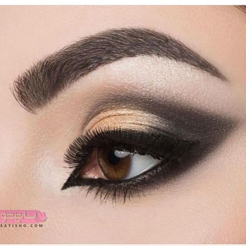 نمونه آرایش و سایه چشم ساده طلایی