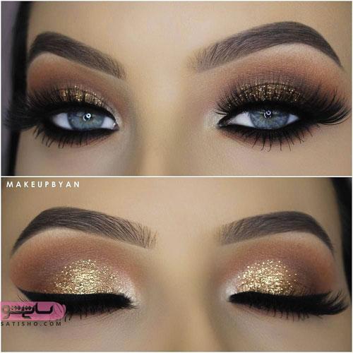 مدل آرایش چشم اکلیلی مناسب چشم درشت و رنگی
