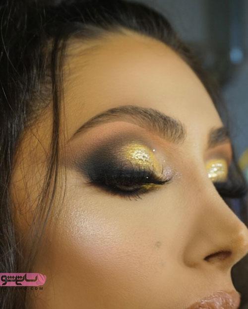 ایده آرایش چشم عروس با سایه طلایی