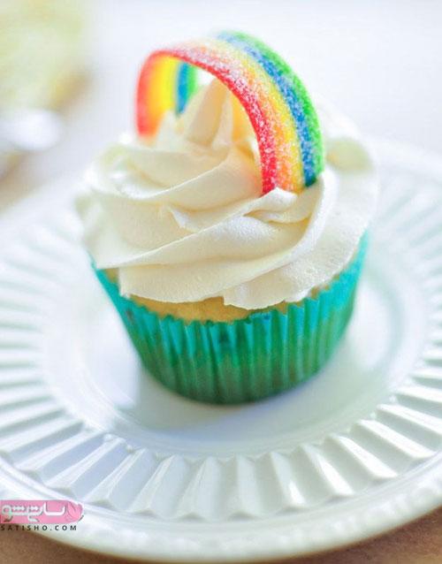 طرح تزیین کاپ کیک رنگین کمانی
