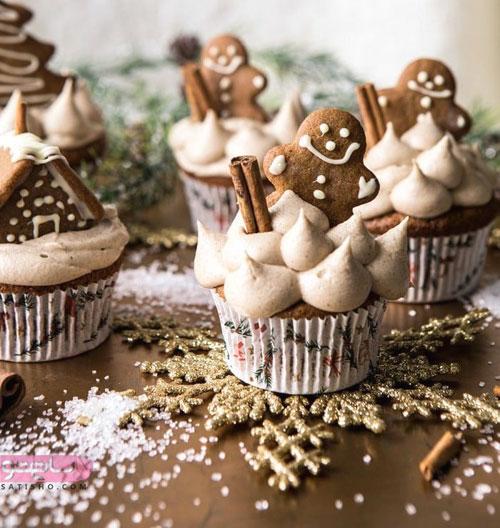 تزیین کاپ کیک و کیک شکلاتی برای کریسمس