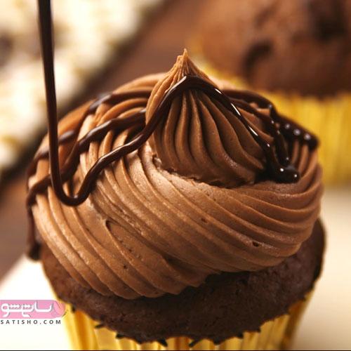 تزیین کاپ کیک شکلاتی با گاناش