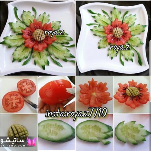 عکس برش گوجه به صورت گل برای تزیین بشقاب
