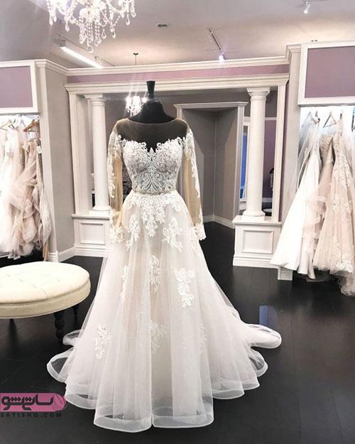 لباس عروس آستین دار پوشیده