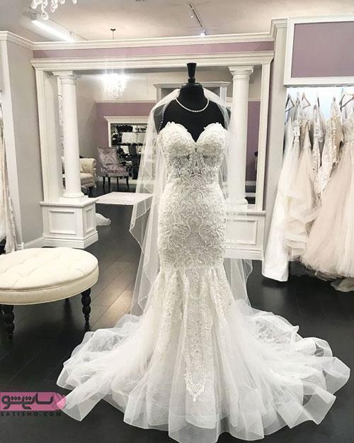مدل لباس عروس یقه دکلته