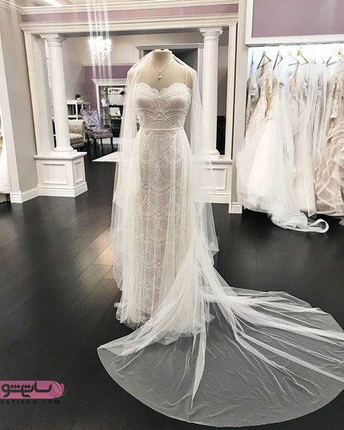 لباس عروس دانتل و گیپور 98