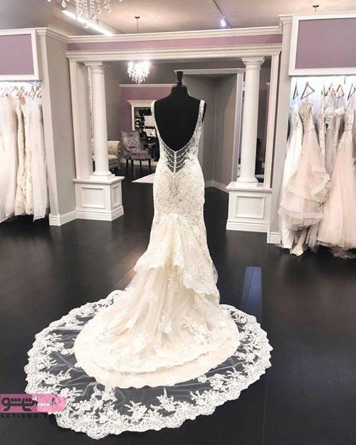 نمونه لباس عروس با بالاتنه ی بسیار شیک و ظریف