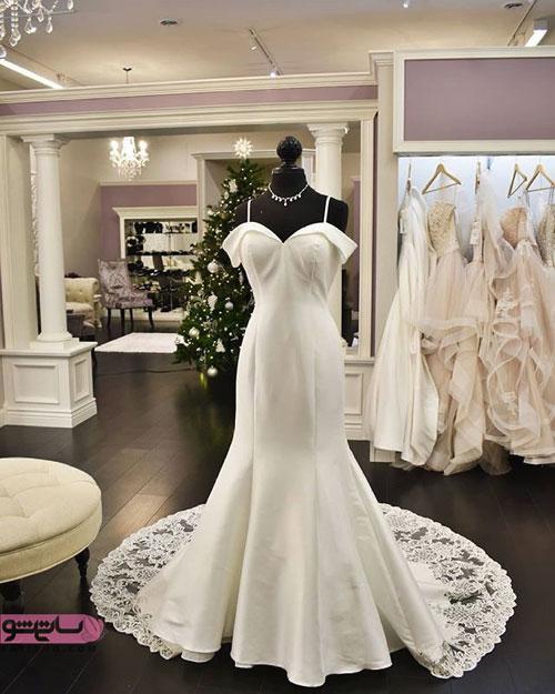 مدل لباس عروس جنس ساتن براق