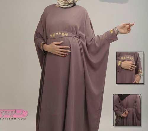 مدل لباس بارداری جنس حریر کاملا پوشیده