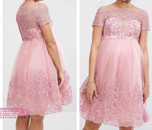 لباس مجلسی بارداری کوتاه با رنگ روشن