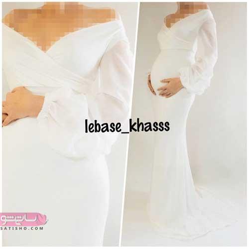 لباس مجلسی سفید مناسب دوران حاملگی