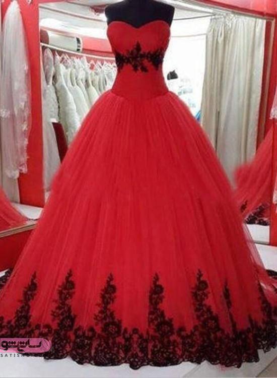 عکس جدیدترین مدل لباس شب دامن پفی قرمز