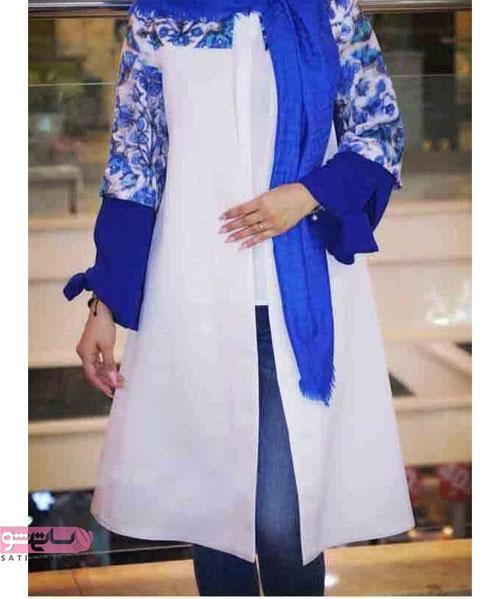 مدل مانتو آبی رنگ زنانه