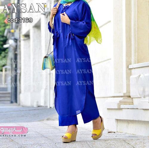 عکس مانتو 2019 آبی رنگ دخترانه