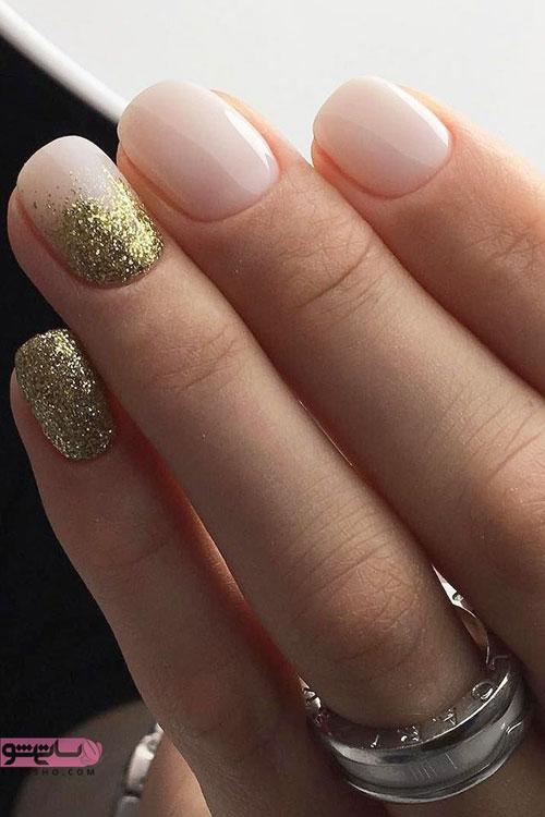 مدل طراحی ناخن کوتاه عروس اکلیلی طلایی