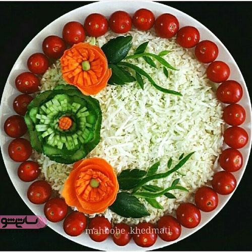 تزیین سالاد با سبزیجات خوش رنگ