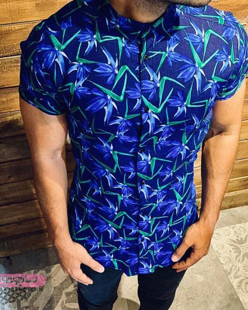 مدل پیراهن مردانه تابستانی آبی