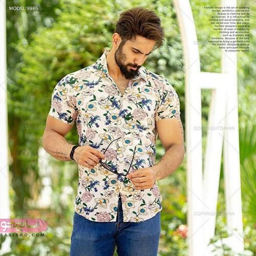 پیراهن استین کوتاه گلدار مردانه 2020