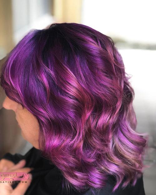 رنگ مو بنفش مد سال 2019