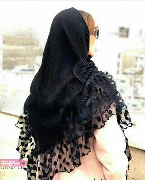 روسری سه گوش سیاه طرحدار مناسب عزاداری
