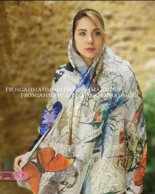 روسری ابریشم با نقش پروانه مخصوص بانوان خوش سلیقه