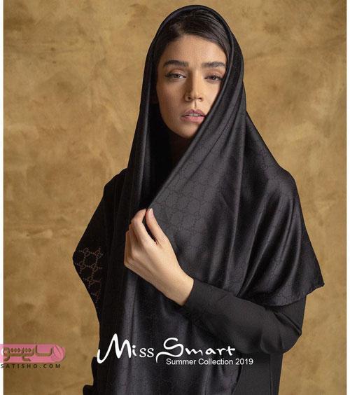 روسری قواره دار بلند مشکی رنگ ساده