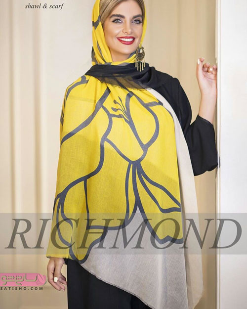 مدل شال زنانه و دخترانه نخی پس زمینه زرد و مشکی