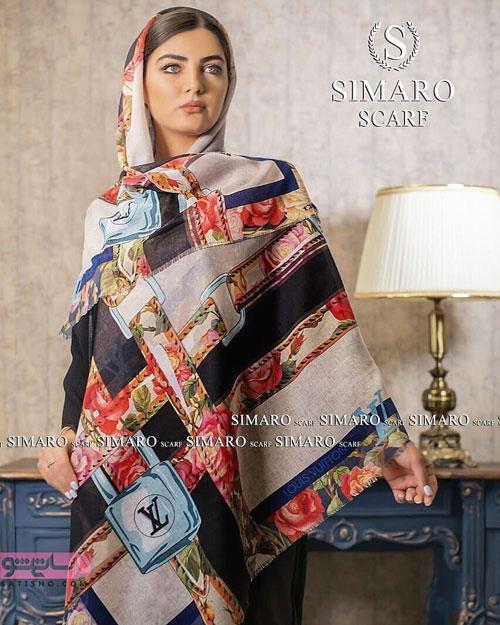مدل روسری ترکیبی از جنس حریر و ساتن سفید قرمز فوق العاده شیک