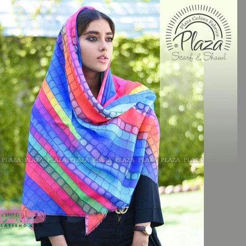 روسری قواره دار جهارخانه طرح دایره ای با رنگ های پرطرفدار و شاد