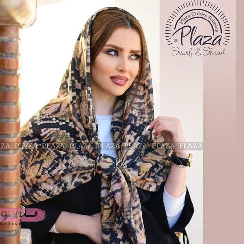روسری و شال طرح پلنگی مدل شطرنجی با رنگ های تیره
