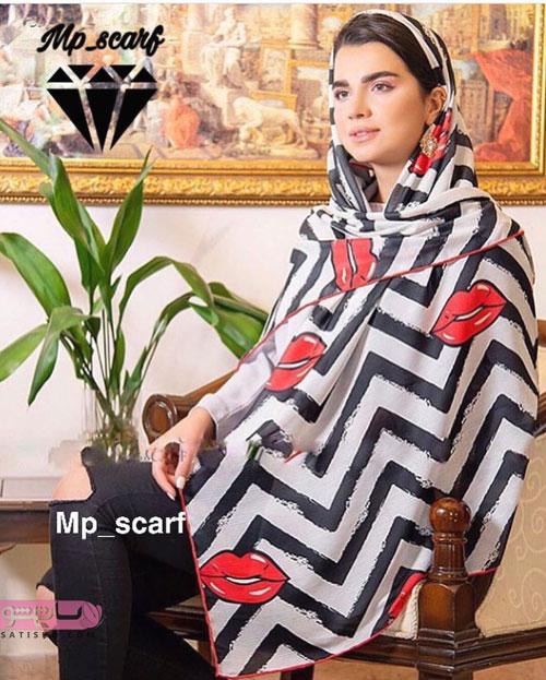 مدل روسری پس زمینه سفید مشکی و طرحدار