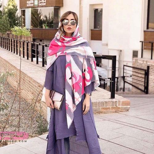 مدل روسری حریر دورنگ