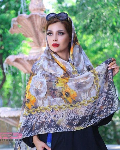 مدل روسری مجلسی طرح گل رنگ روشن و زیبا
