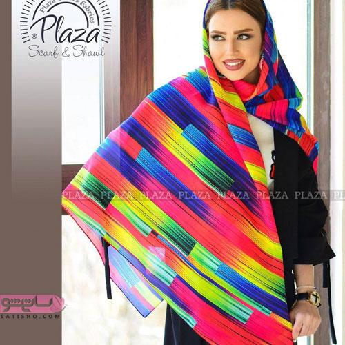 پرطرفدارترین مدل روسری قواره دار رنگ شاد