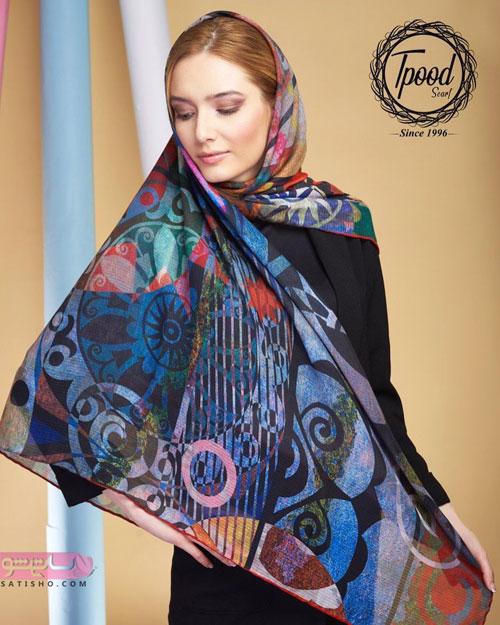 مدل روسری نخی پس زمینه شلوغ سنتی