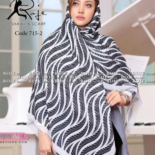 مدل روسری حریر مجلسی سفید مشکی