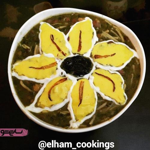 مدل نزیین آش رشته با پیاز داغ و کشک به شکل گل زیبا