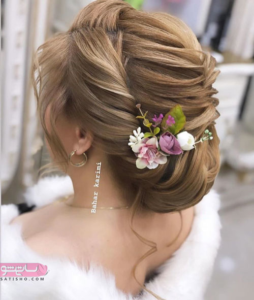 مدل مو عروس جدید تهرانی با تاج گل دار
