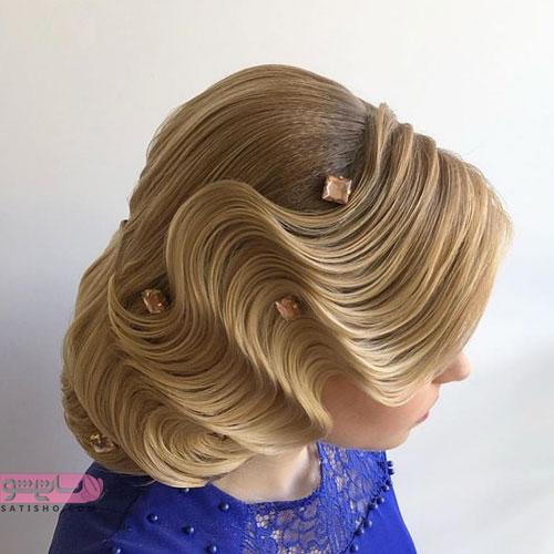مدل مو عروس جدید ساده همراه با رنگ مو روشن بلوند