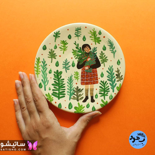 نقاشی روی بشقاب دیواری با رنگ اکریلیک