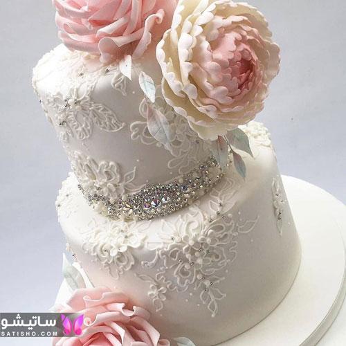 عکس کیک دو طبقه خوشگل سفید