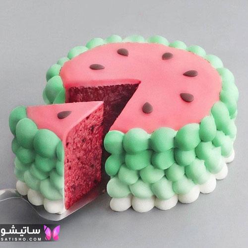 مدل کیک به شکل هندوانه