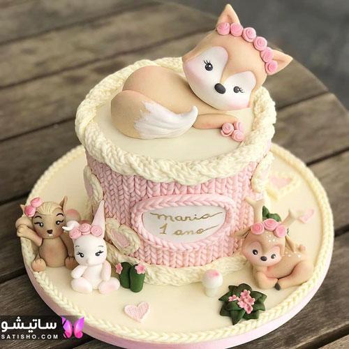 تزیین کیک تولد دخترانه ساده و جذاب