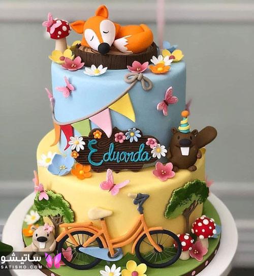 تزیین کیک تولد دخترانه با خامه مد 98