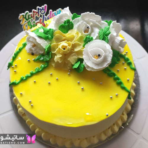 کیک تولد ساده و خوشگل زنانه