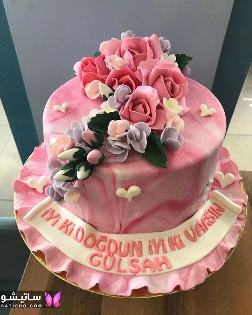تزیین کیک تولد ساده و زیبا با خمیر فوندانت